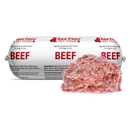Raw Paws Signature Blend Complete Ground Beef for Dogs & Cats, 1 lb