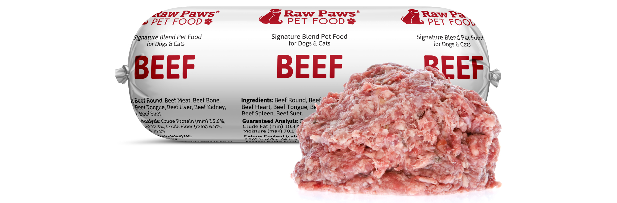 Raw Paws Signature Blend Complete Beef for Dogs & Cats, 1 lb