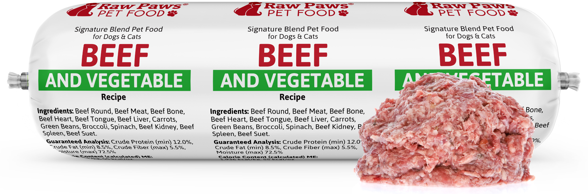 Raw Paws Signature Blend Complete Beef & Vegetable for Dogs & Cats, 3 lbs