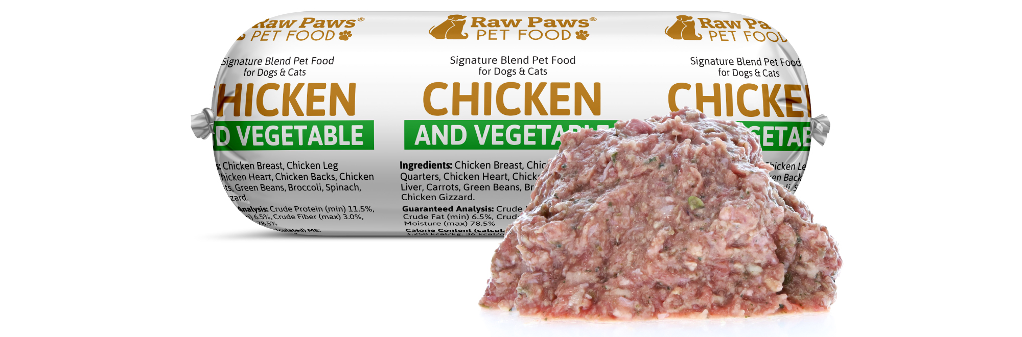 Raw Paws Signature Blend Complete Chicken & Vegetable for Dogs & Cats, 1 lb