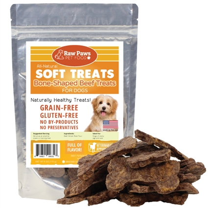 Raw Paws Soft Bone Shaped Beef Jerky Treats For Dogs 6 Oz